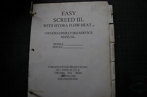 carlson easy screed service manuals